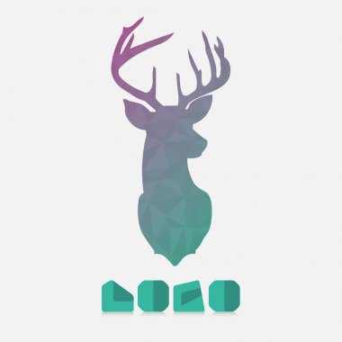 Polygonal hipster logo with lion of deer in mint color with gradient stock vector
