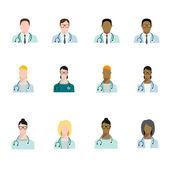 Sada doktor avatary profese, základní znaky v ploché stylu. Lékaři z různých ras