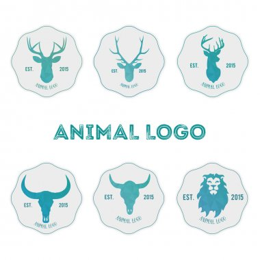 Polygonal hipster logo with heads of deer, buffalo and lion in m