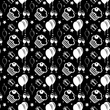Happy birthday and anniversary seamless background pattern