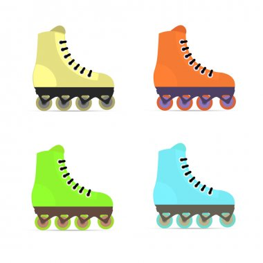 Roller skates in flat style