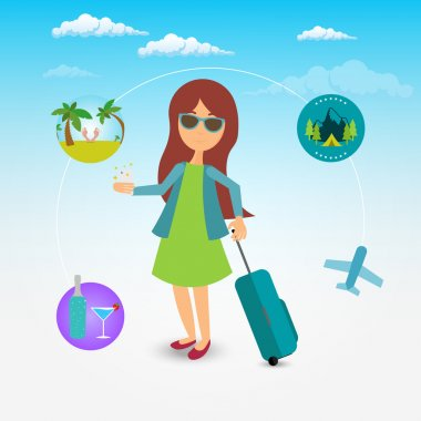 Pretty girl with long brown hair going to the vacation with suit