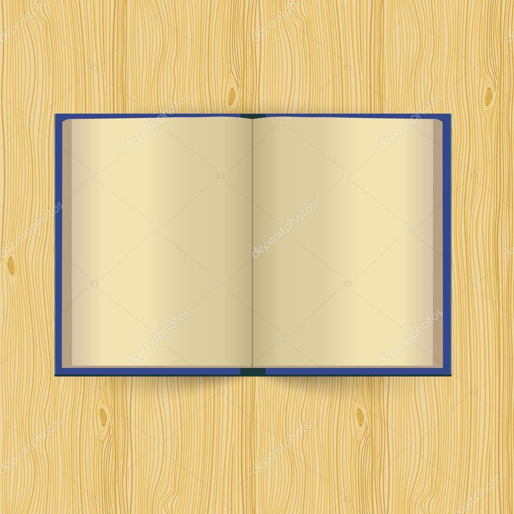 Abrir libro con páginas amarillas sobre fondo de madera — Archivo ...