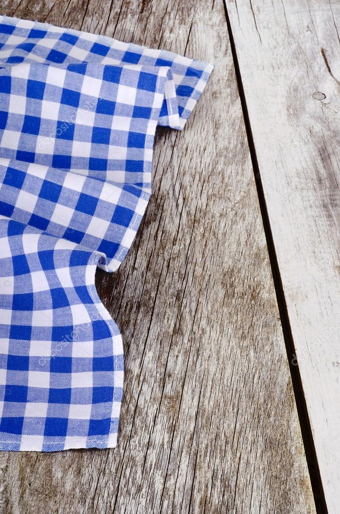 Blue White Checkered Tablecloth In An Old Wooden Table U2014 Photo By Tanuha2001