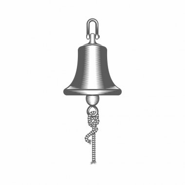 Black and white vector illustration ship bell