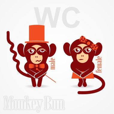 monkey  sign toilet