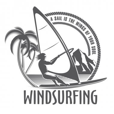 windsurfing emblem on a white background