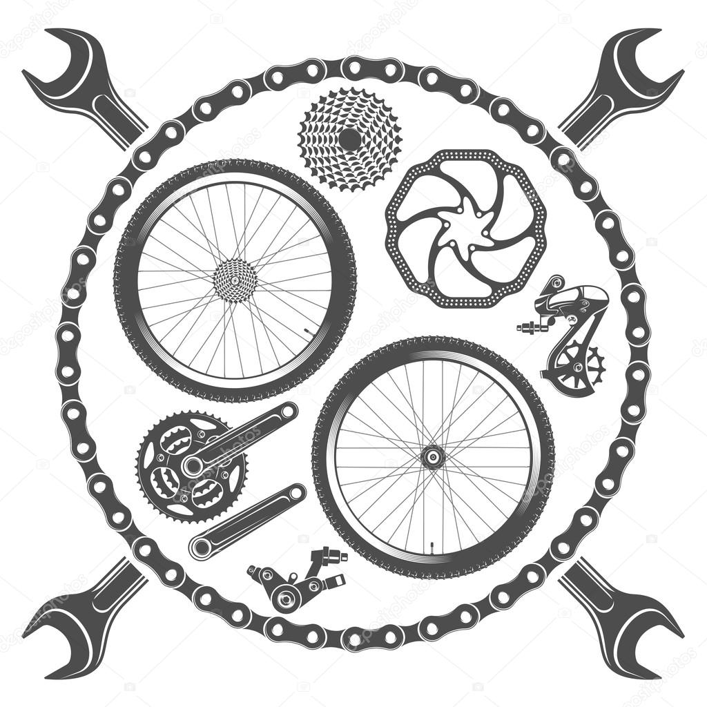 Bicycle Parts Isolated On White Background Stock Vector