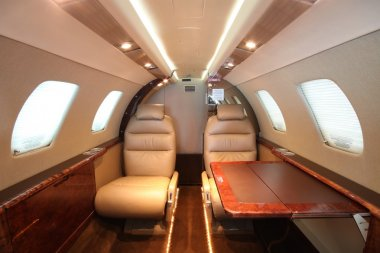 Small business jet cabin rear left table