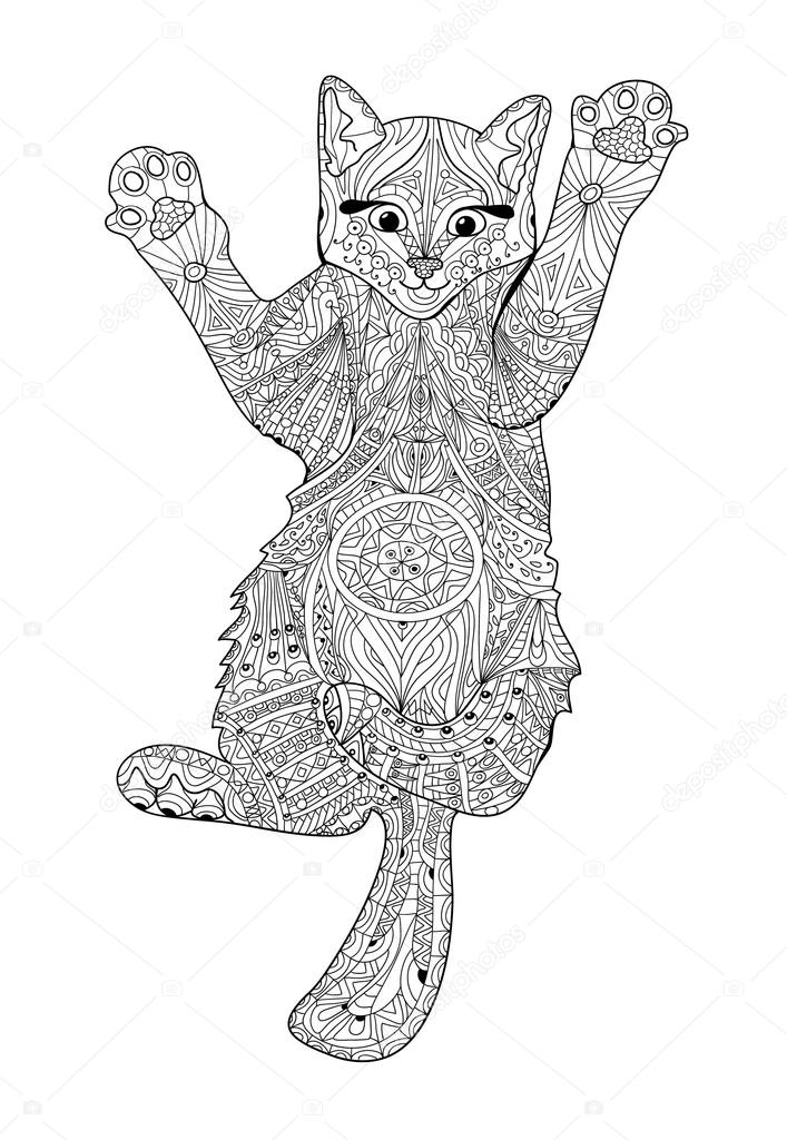 Funny Kitten - Coloring Book For Adults - Zentangle Cat Book ⬇ Vector Image  By © Aleancher Vector Stock 101808978