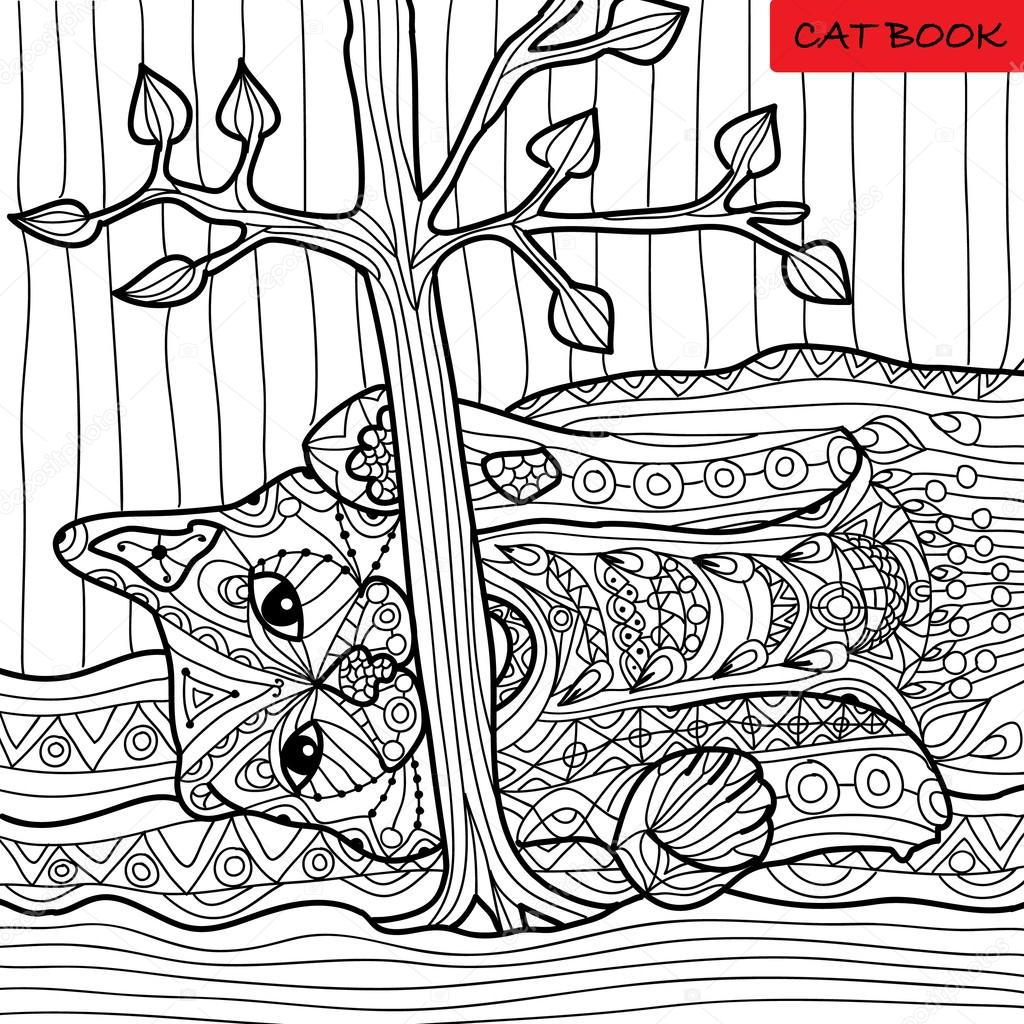 Naughty cat - coloring book for adults, zentangle patterns — Stock ...