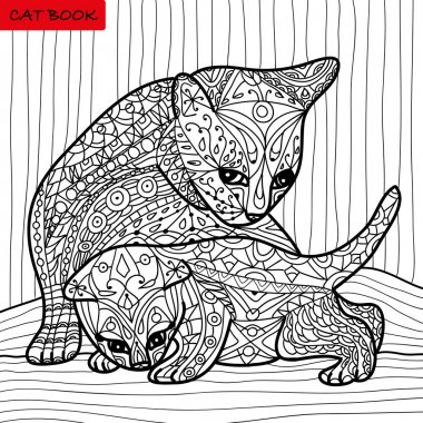 Cat mother and her kitten - coloring book for adults - zentangle cat book, hand drawn  vector illustration