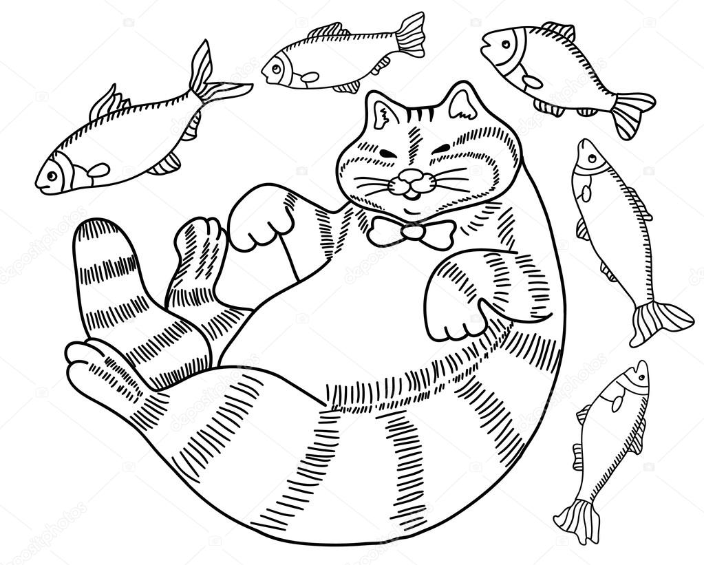 blanco y negro dibujo de un gato - un gordo feliz bien alimentados ...