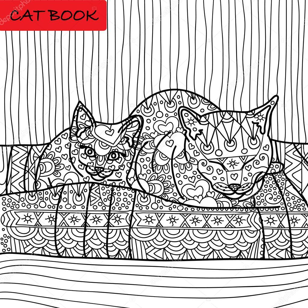 Kat Kleurplaat Voor Volwassenen Kat Van De Mama En Haar Baby Kitten