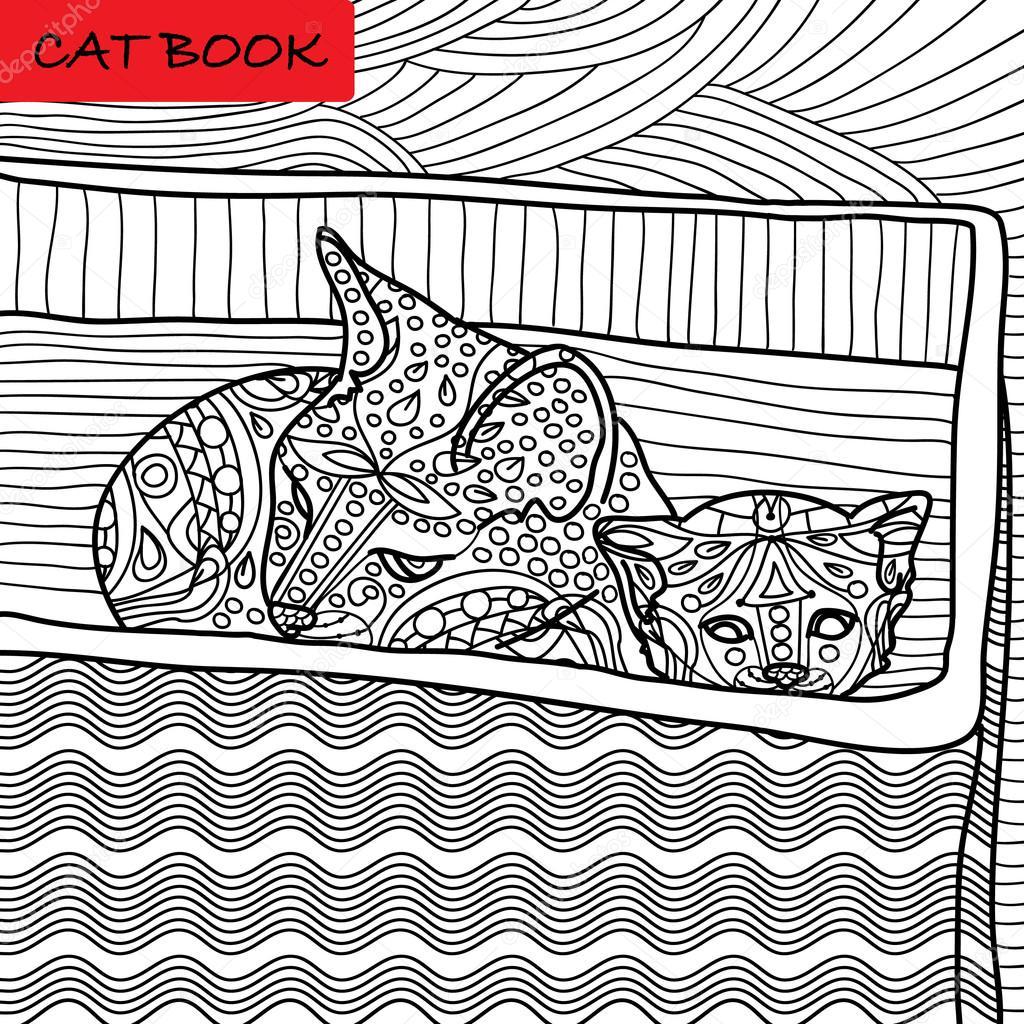 Kat Kleurplaat Voor Volwassenen Mama Kat En Haar Kitten Zitten In
