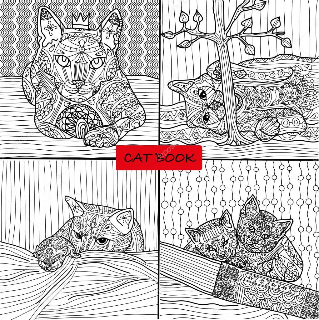 Libro para colorear para adultos - 2 conjunto de cuatro dibujos para ...