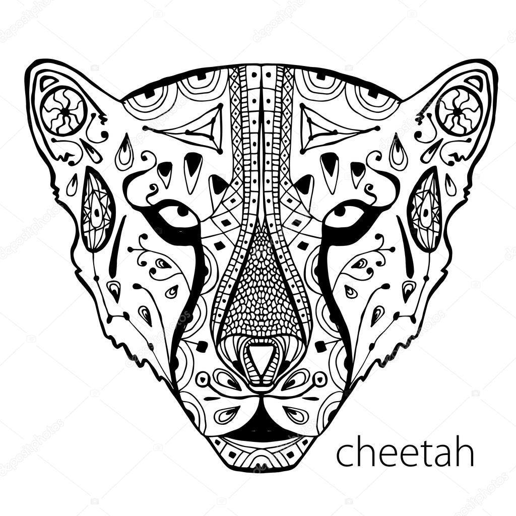 El cheetah blanco y negro impresión con estampados étnicos. Libro de ...