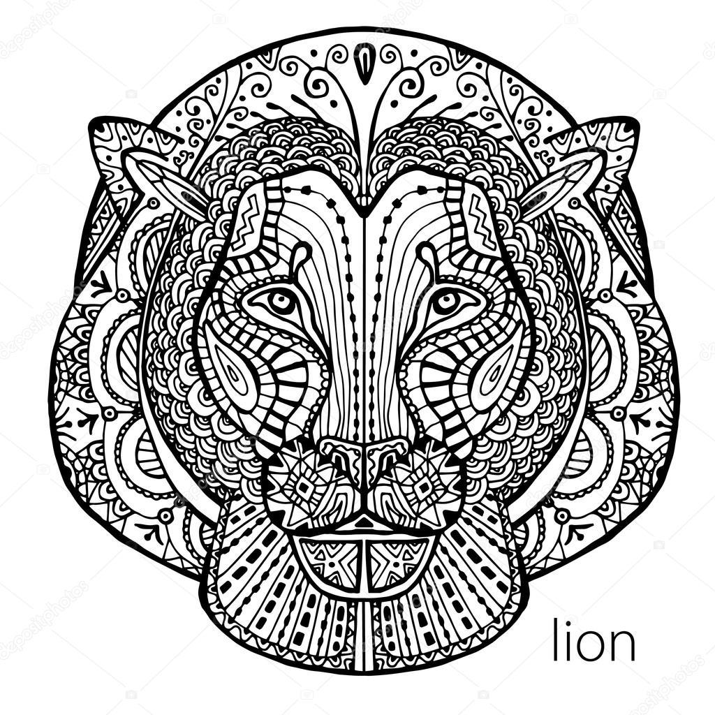 o leão preto e branco imprime com padrões étnicos livro de colorir