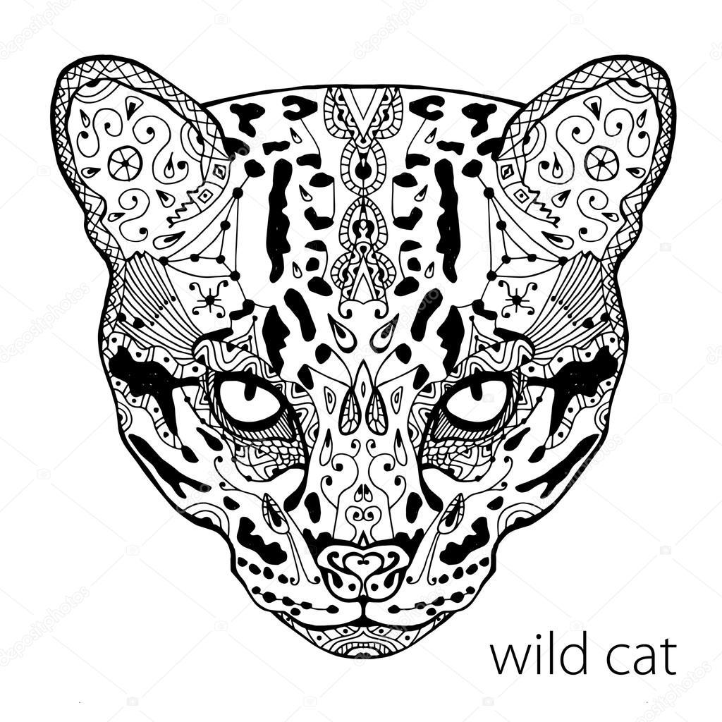 El gato silvestre y negro impresión con estampados étnicos. Libro de ...