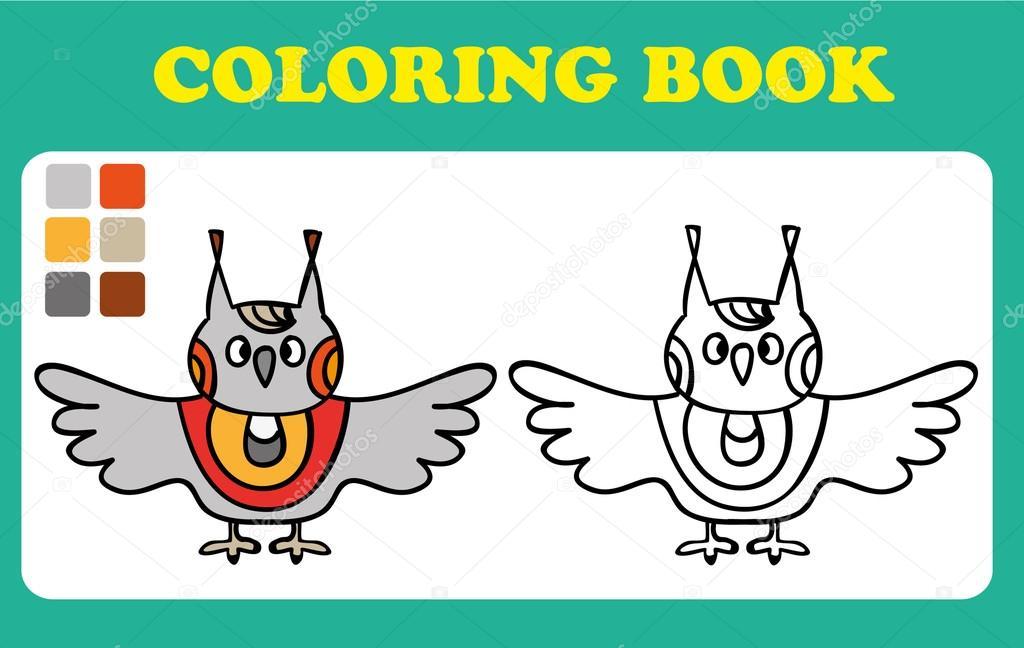 Vector lindo búho divertido, concepto de tarjeta, Ilustración, fondo ...