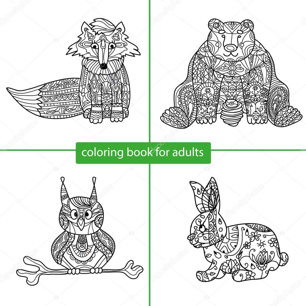 Libro para colorear para adultos. Personaje de dibujos animados ...