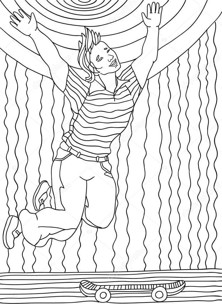 Página para colorear para adultos. Un chico en un monopatín — Vector ...