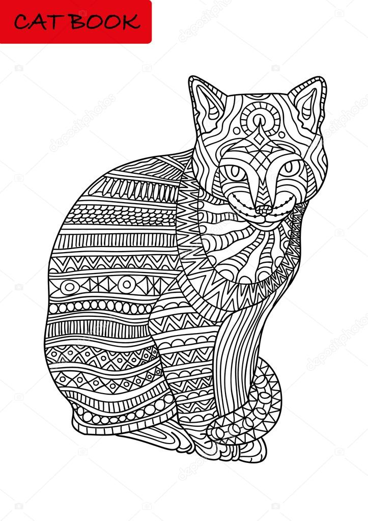 Blanco y negro para colorear libro para adultos. Gato coloreado con ...