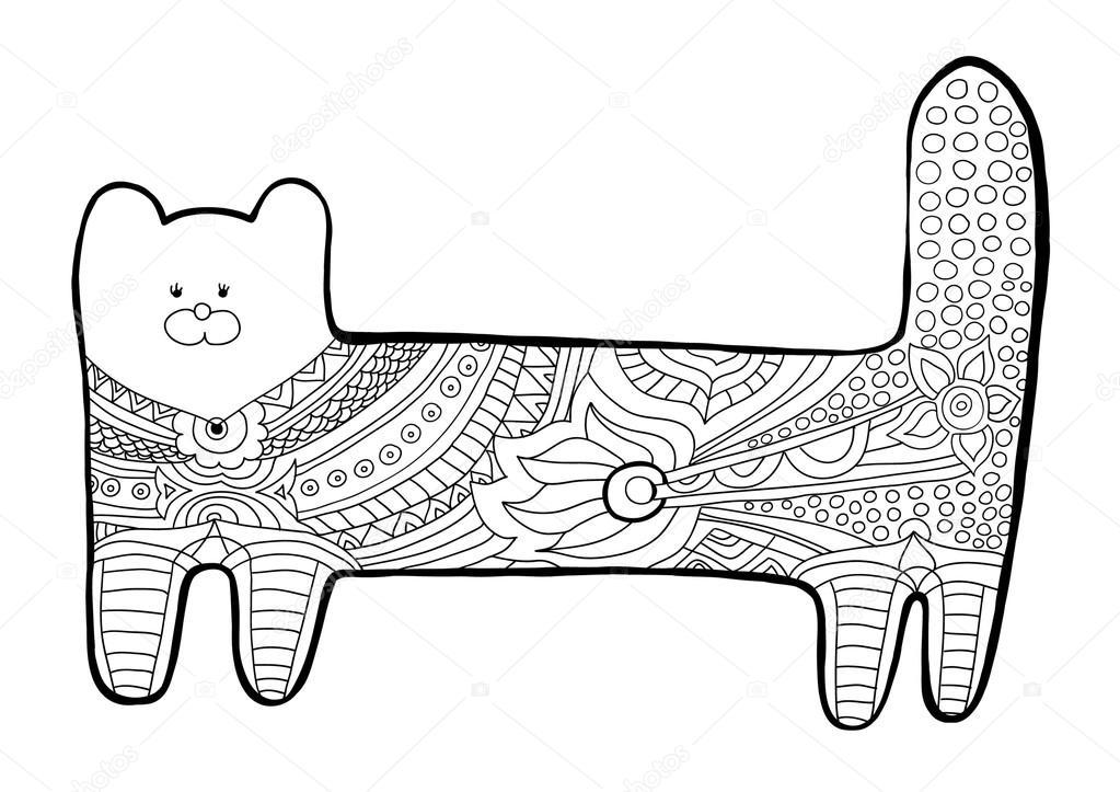 Gato gracioso. Libro para colorear para adultos. Patrón blanco y ...
