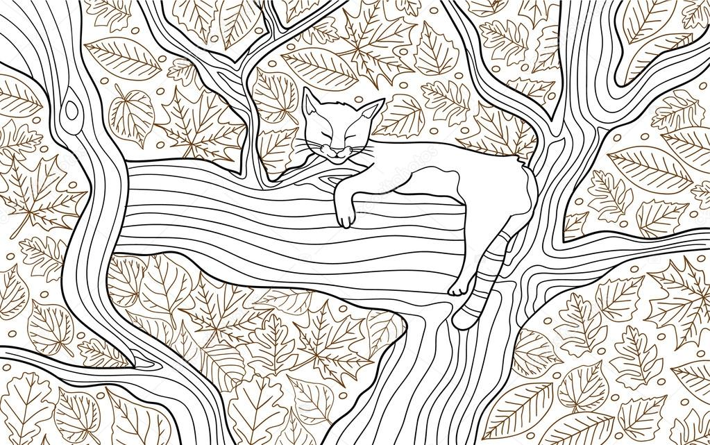 Malvorlagen Tierbuch für Erwachsene. Lustige Katze schläft auf dem ...