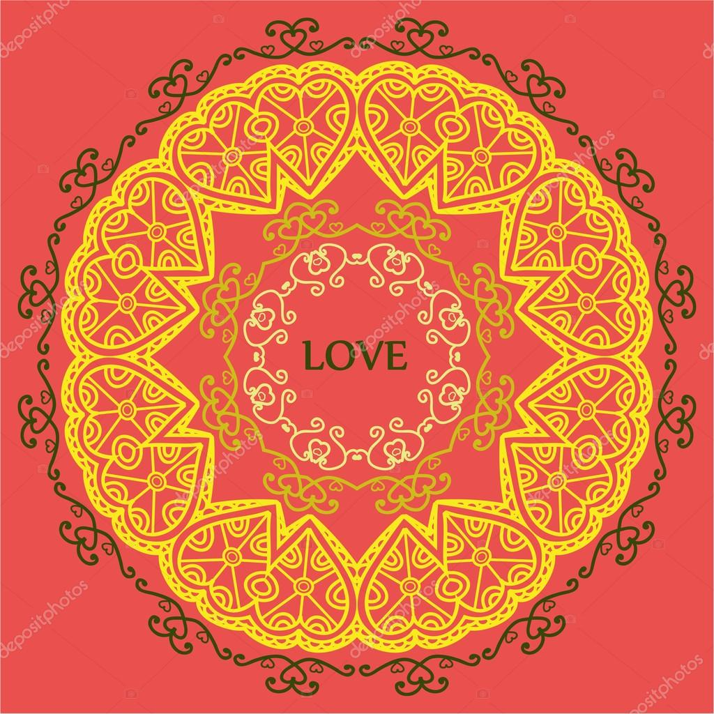 mandala of love relaxation and meditation, ethnic patterns, gree