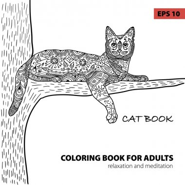 coloring book for adults - zentangle cat book, ink pen, black and white background, intricate pattern, doodle