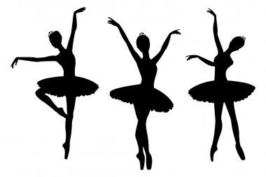 Set of ballerinas silhouettes, isolated on white