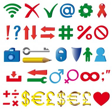 The most common three-dimensional symbols and signs used in the Internet clip art vector