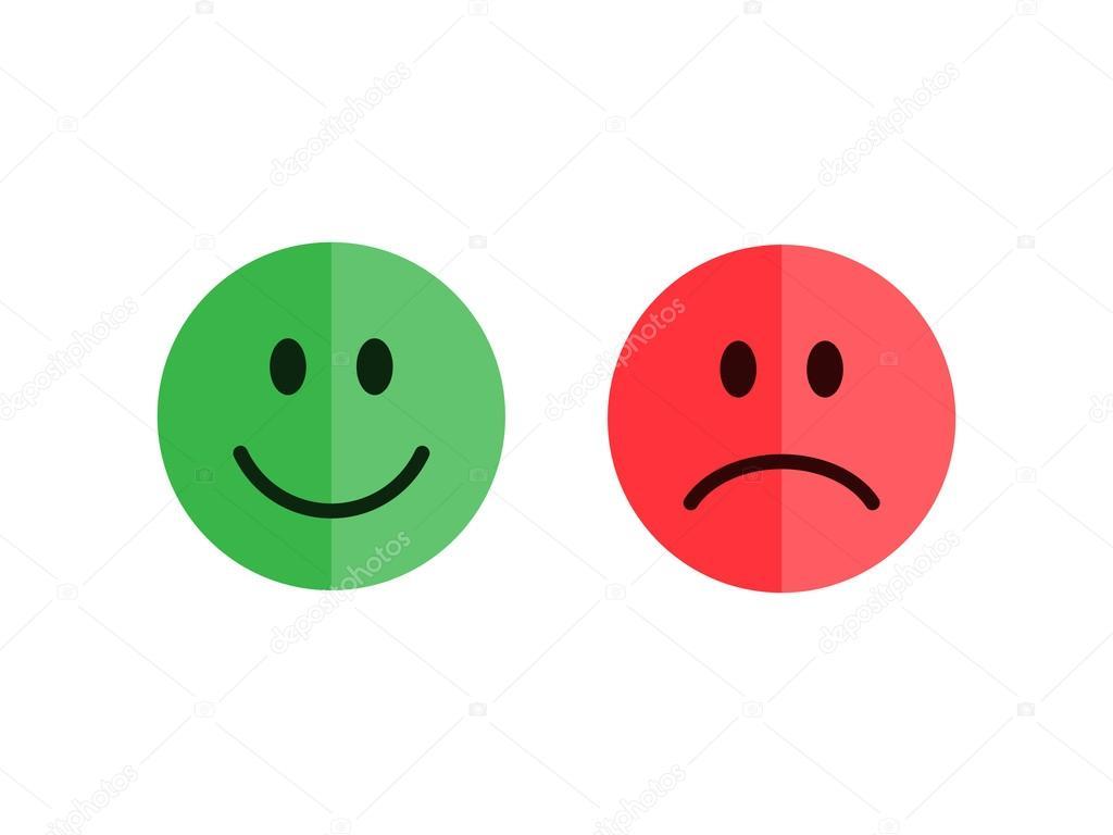 28ca1dcd85b Conjunto de emoticonos aislado sobre fondo blanco. Emoticonos de estilo  plano. Caritas felices y desgraciados. Color verde y rojo. Ilustración de  vector de ...