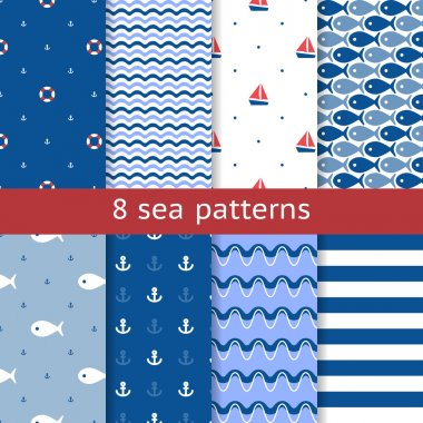 Set of seamless sea patterns