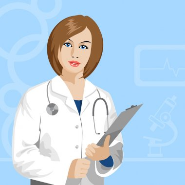 Beautiful female doctor with stethoscope clip art vector