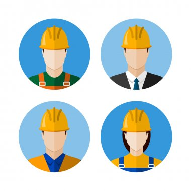 Set of builders avatars