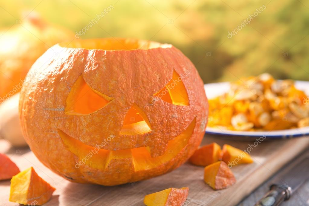 Carving a Jack O'Lantern for Halloween