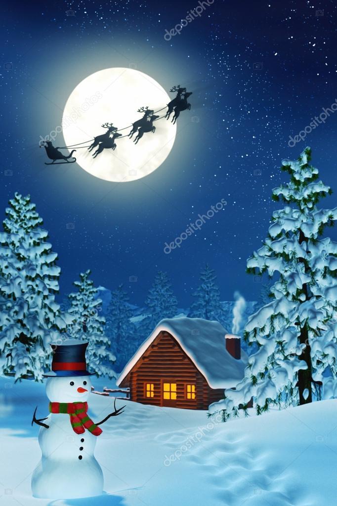 cabine bonhomme de neige et p re no l dans le paysage d 39 hiver au clair de lune dans la nuit. Black Bedroom Furniture Sets. Home Design Ideas