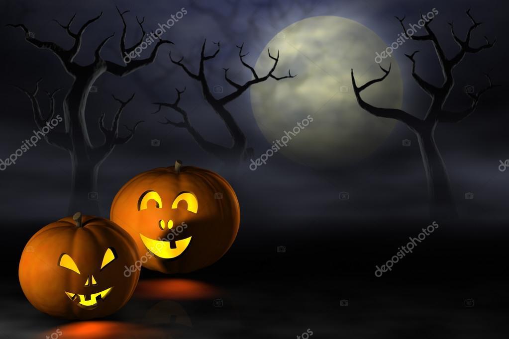 Dynie Halloween W Lesie Spooky Nocą Zdjęcie Stockowe