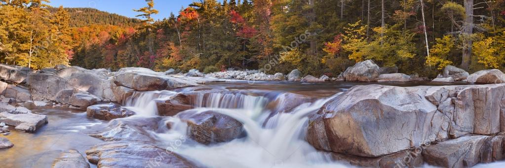 River through fall foliage, Swift River Lower Falls, NH, USA