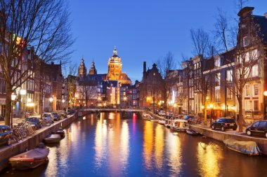 Canal in Amsterdam, The Netherlands by night
