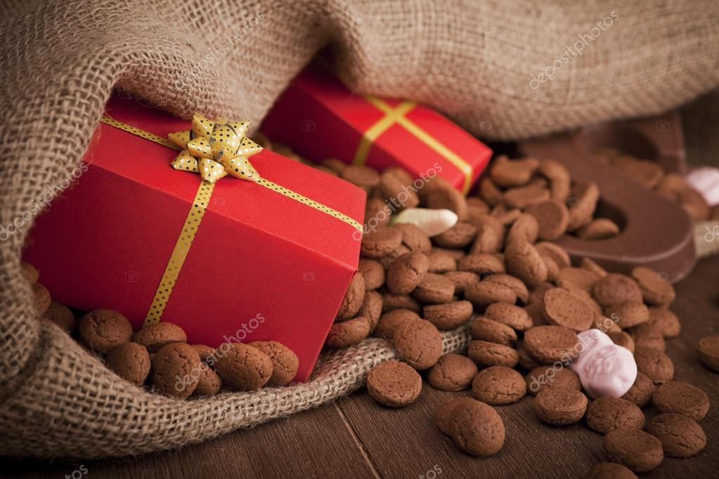 'De zak van Sinterklaas' (St. Nicholas' bag) filled with 'pepernoten', a letter of chocolate and sweets. All part of the traditional Dutch holiday 'Sinterklaas'.