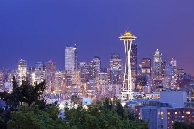 Space Needle and skyline of Seattle, Washington, USA at night