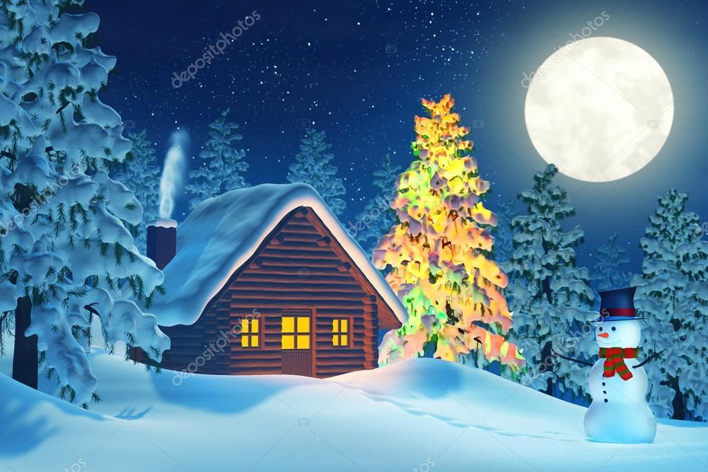Foto Paesaggi Di Natale.Foto Paesaggi Natalizi Di Notte Cabina Albero Di Natale E