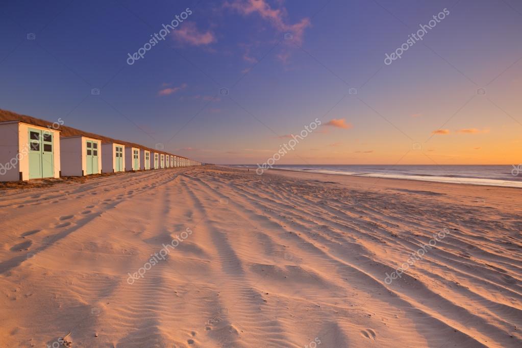 Wiersz O Plażowe Na Zachód Wyspy Texel Holandia Zdjęcie
