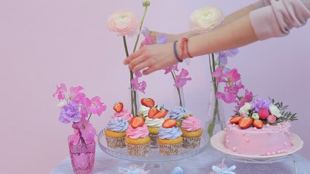 Girl Decorates A Sweet Table