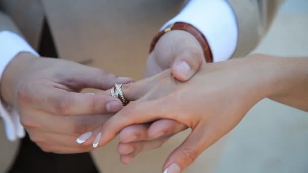 Bride and groom exchanging wedding rings, closeup