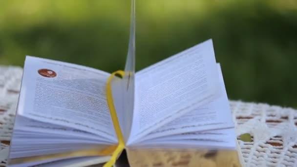 Buch über Seilschaukel, Nahaufnahme
