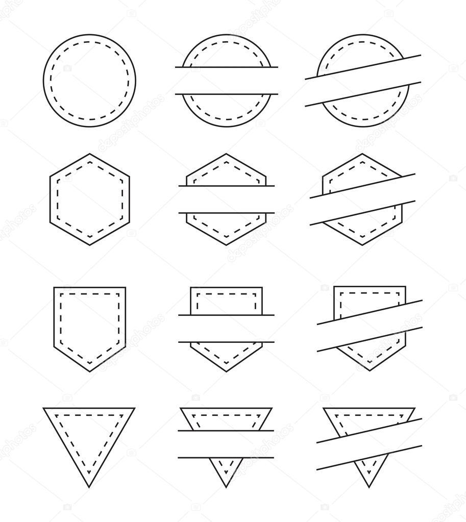 Conjunto de Marcos Vintage en blanco para logotipo - ilustración de ...